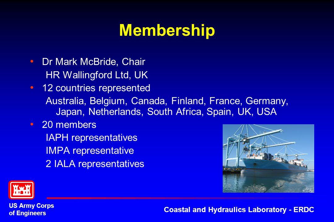 US Army Corps of Engineers Coastal and Hydraulics Laboratory - ERDC Membership Dr Mark McBride, Chair HR Wallingford Ltd, UK 12 countries represented