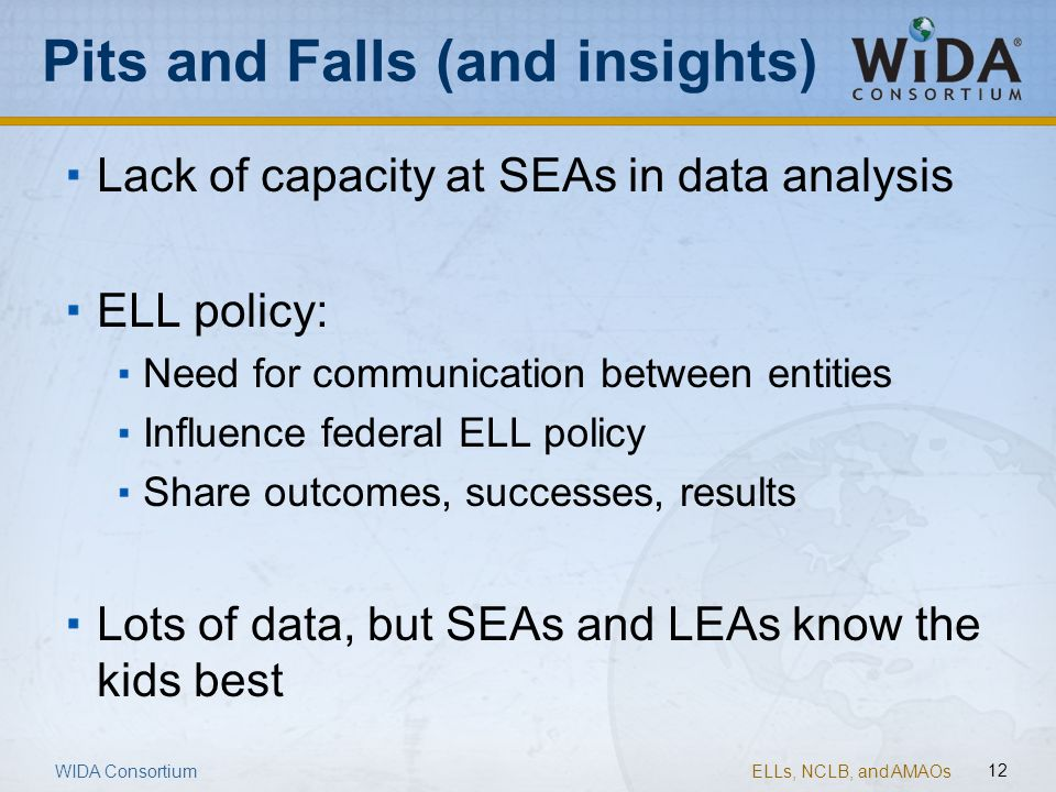 ELLs, NCLB, and AMAOs 12 Pits and Falls (and insights) Lack of capacity at SEAs in data analysis ELL policy: Need for communication between entities I