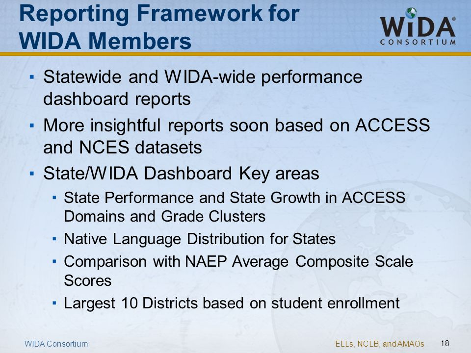 ELLs, NCLB, and AMAOs 18 WIDA Consortium Reporting Framework for WIDA Members Statewide and WIDA-wide performance dashboard reports More insightful re