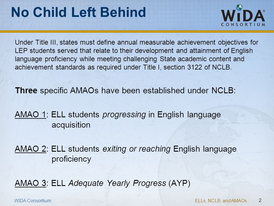 ELLs, NCLB, and AMAOs 2 WIDA Consortium No Child Left Behind Under Title III, states must define annual measurable achievement objectives for LEP stud