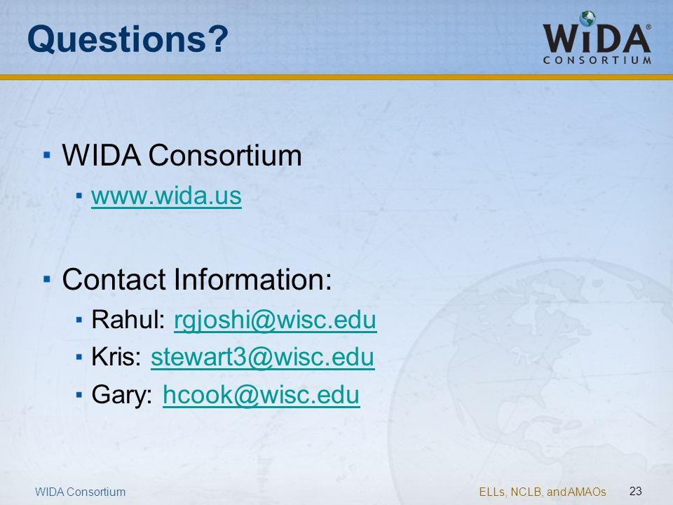 ELLs, NCLB, and AMAOs 23 Questions? WIDA Consortium www.wida.us Contact Information: Rahul: rgjoshi@wisc.edurgjoshi@wisc.edu Kris: stewart3@wisc.edust