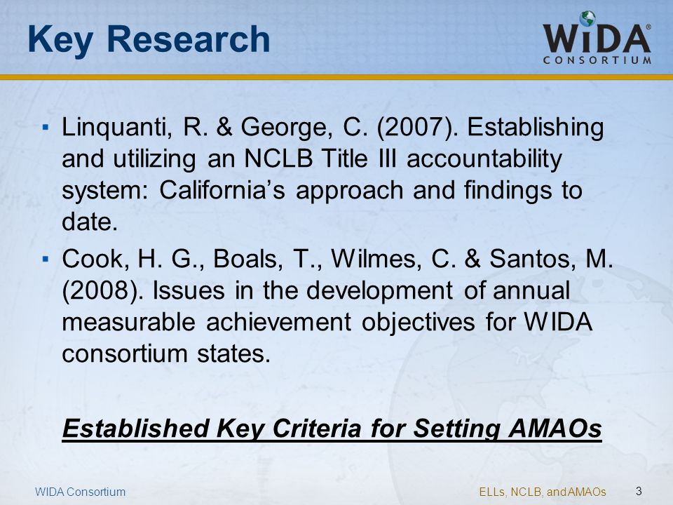 ELLs, NCLB, and AMAOs 3 Key Research WIDA Consortium Linquanti, R. & George, C. (2007). Establishing and utilizing an NCLB Title III accountability sy