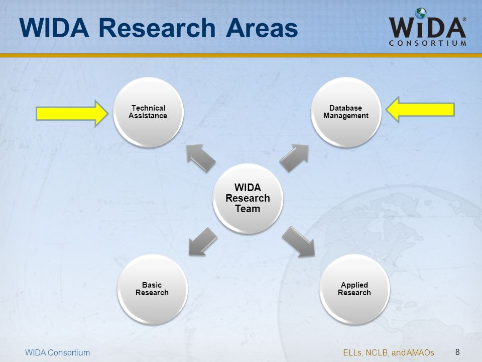 ELLs, NCLB, and AMAOs 8 WIDA Research Areas WIDA Research Team Technical Assistance Database Management Applied Research Basic Research WIDA Consortiu