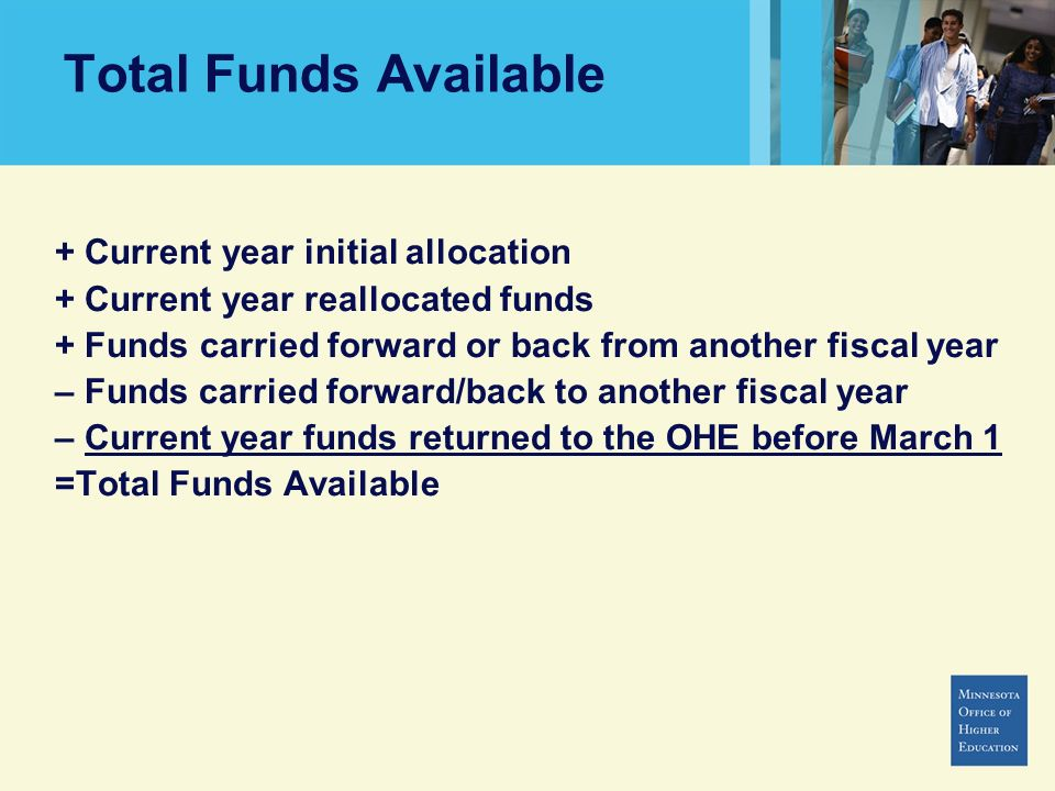 Total Funds Available + Current year initial allocation + Current year reallocated funds + Funds carried forward or back from another fiscal year – Fu