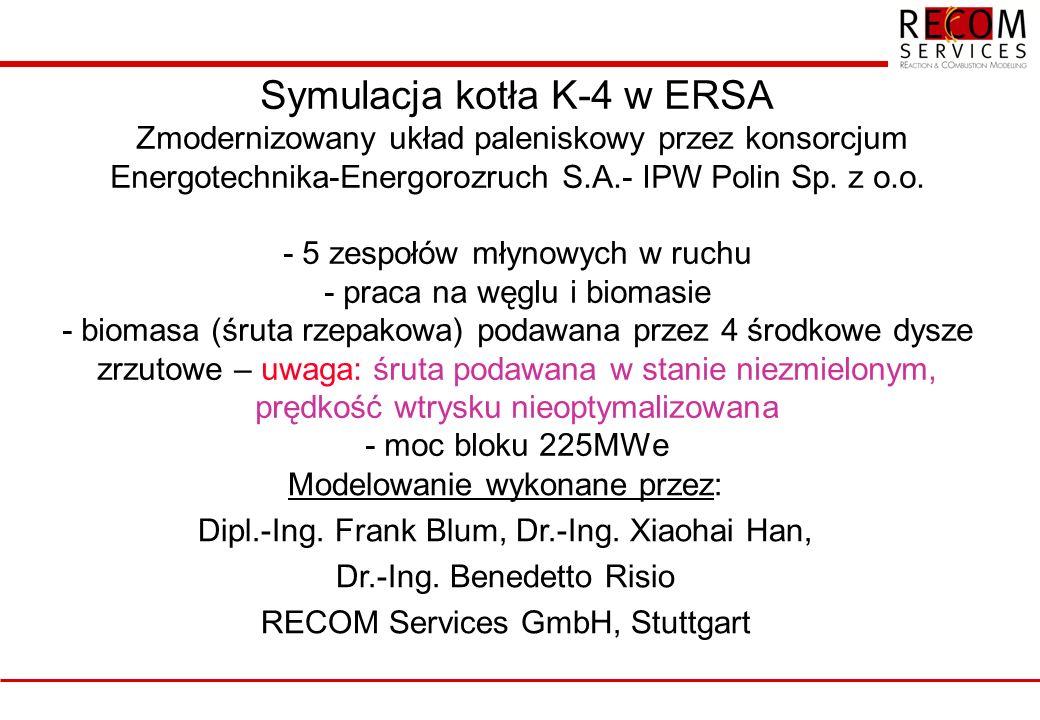 Symulacja kotła K-4 w ERSA Zmodernizowany układ paleniskowy przez konsorcjum Energotechnika-Energorozruch S.A.- IPW Polin Sp.