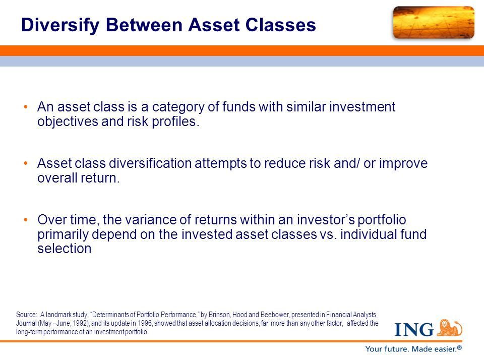 Diversify Between Asset Classes An asset class is a category of funds with similar investment objectives and risk profiles. Asset class diversificatio
