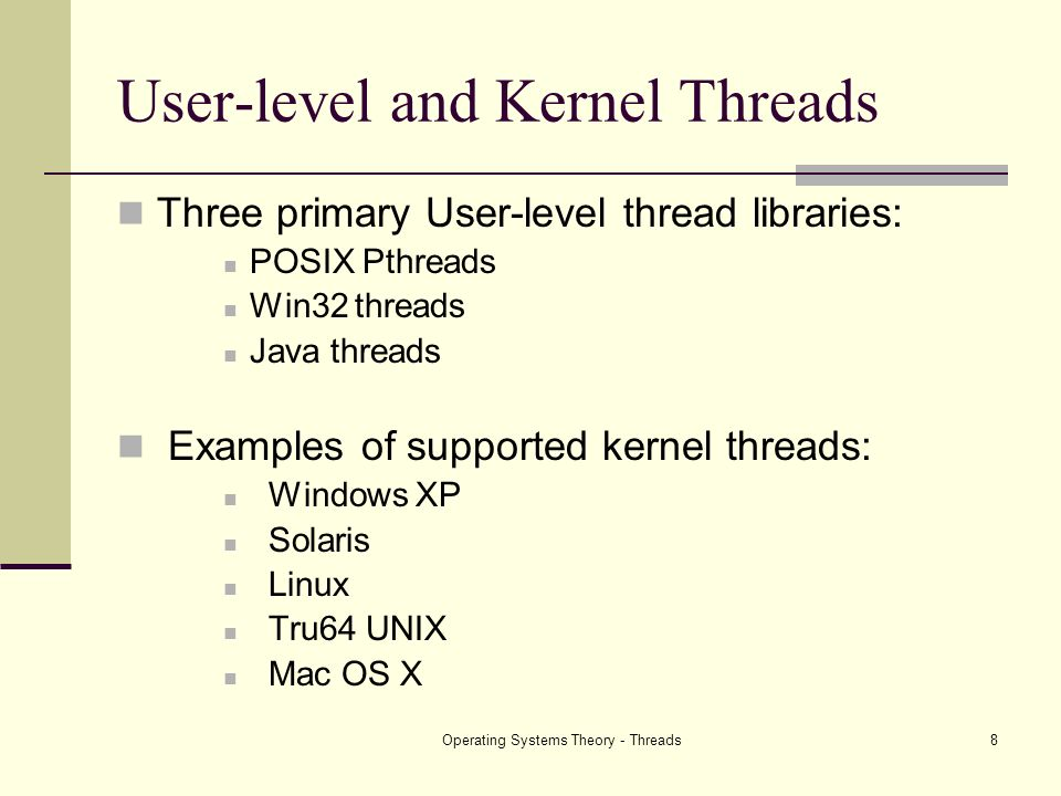 Operating Systems Theory - Threads8 User-level and Kernel Threads Three primary User-level thread libraries: POSIX Pthreads Win32 threads Java threads