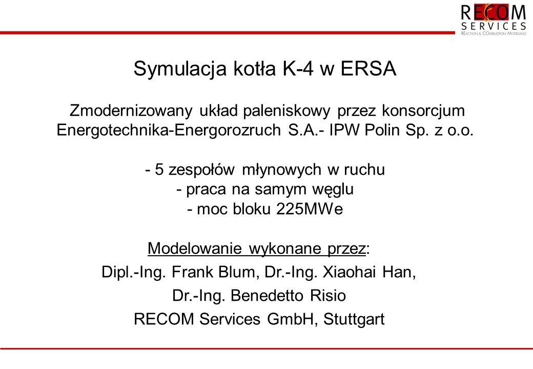 Symulacja kotła K-4 w ERSA Zmodernizowany układ paleniskowy przez konsorcjum Energotechnika-Energorozruch S.A.- IPW Polin Sp. z o.o. - 5 zespołów młyn