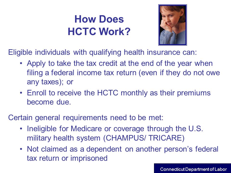 How Does HCTC Work? Eligible individuals with qualifying health insurance can: Apply to take the tax credit at the end of the year when filing a feder