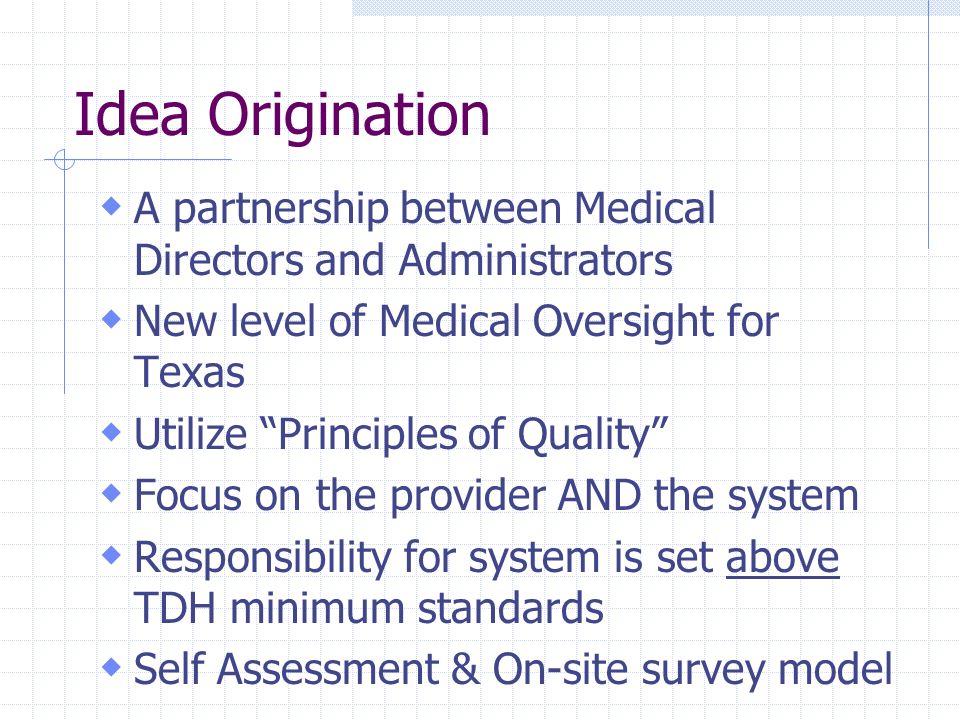 Idea Origination A partnership between Medical Directors and Administrators New level of Medical Oversight for Texas Utilize Principles of Quality Foc