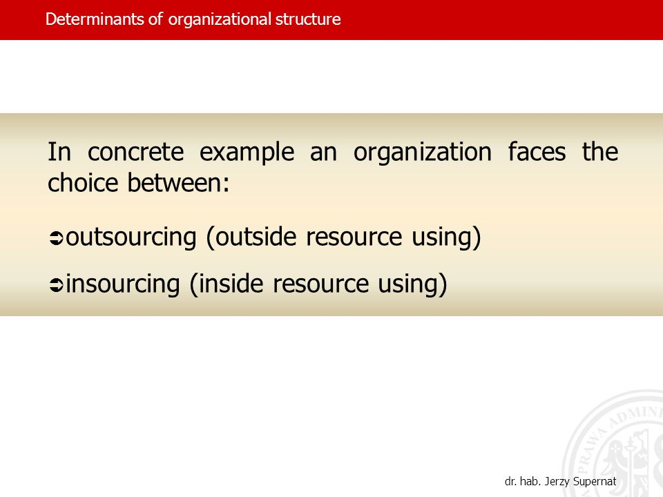 Determinants of organizational structure In concrete example an organization faces the choice between: outsourcing (outside resource using) insourcing