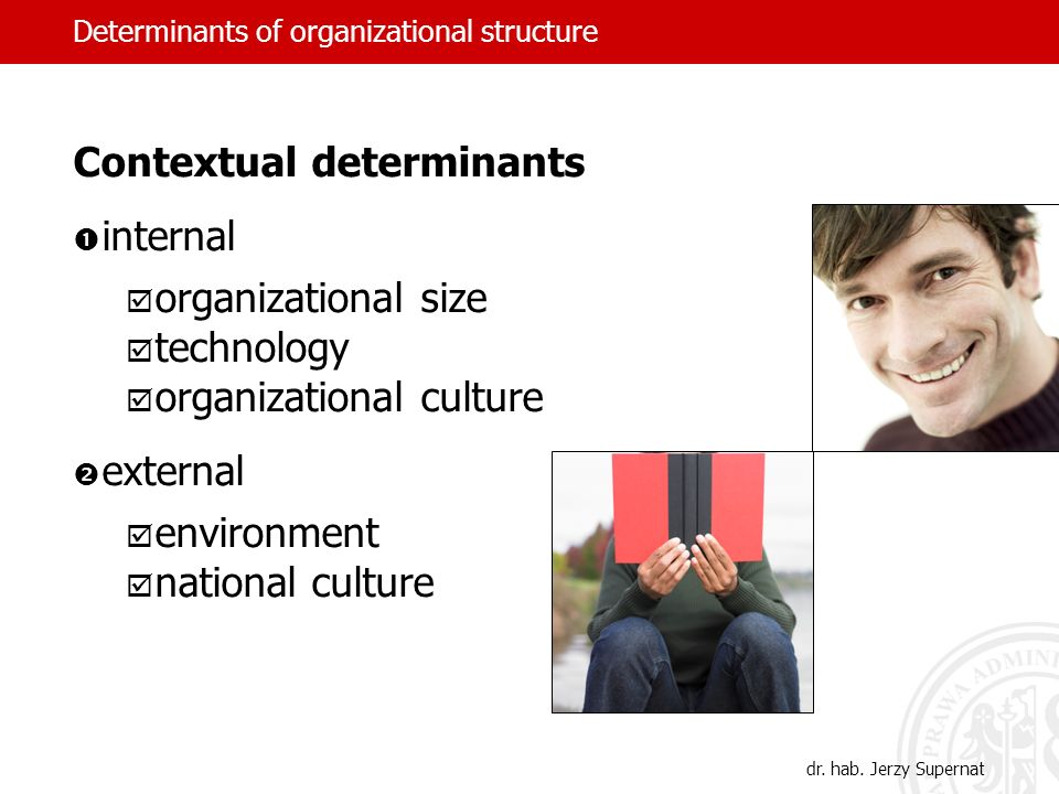 dr. hab. Jerzy Supernat Contextual determinants internal organizational size technology organizational culture external environment national culture D