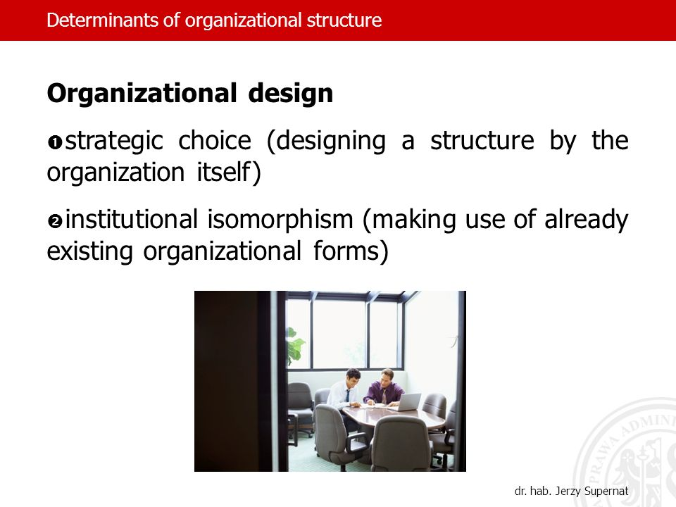 Organizational design strategic choice (designing a structure by the organization itself) institutional isomorphism (making use of already existing or