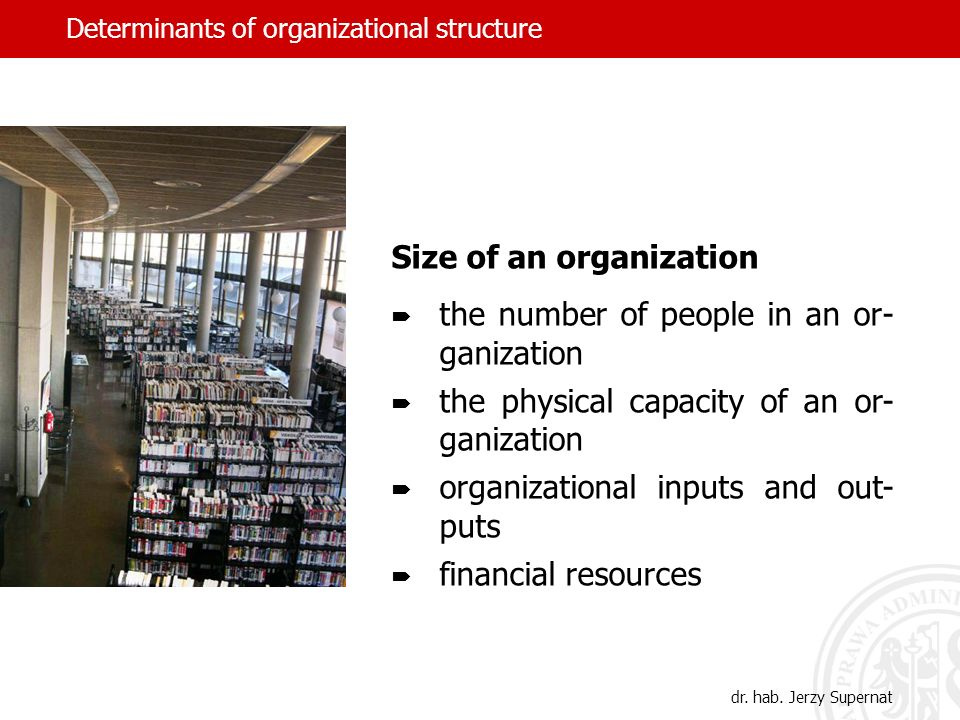 Determinants of organizational structure Size of an organization the number of people in an or- ganization the physical capacity of an or- ganization
