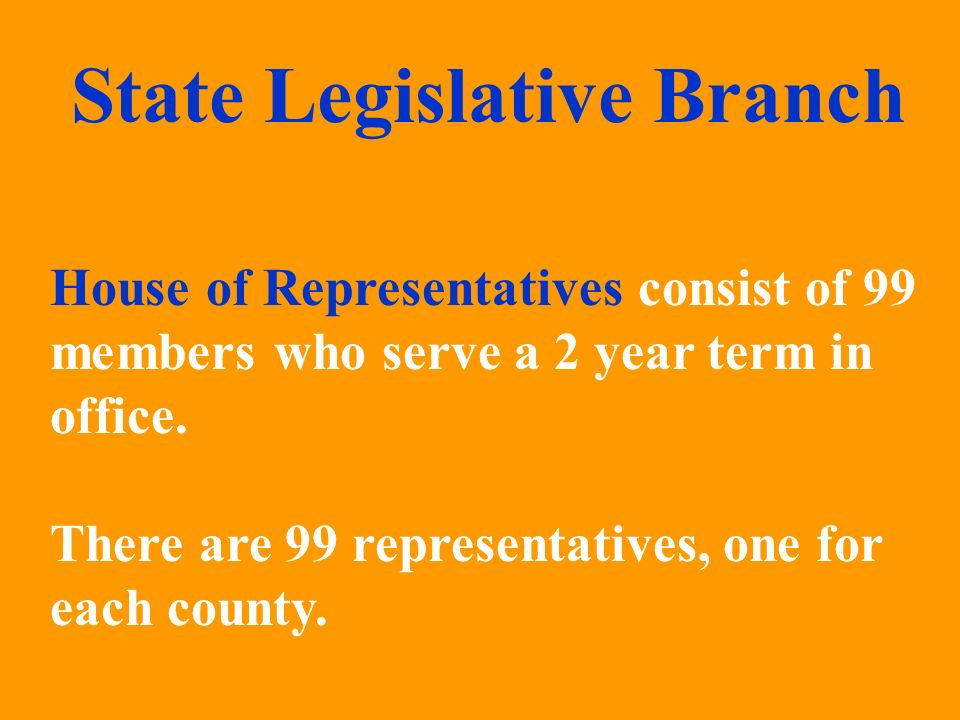 House of Representatives consist of 99 members who serve a 2 year term in office. There are 99 representatives, one for each county. State Legislative