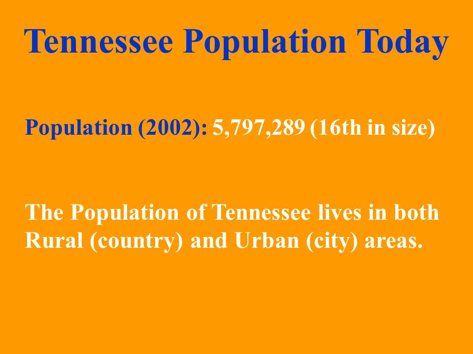 Tennessee Population Today The Population of Tennessee lives in both Rural (country) and Urban (city) areas. Population (2002): 5,797,289 (16th in siz