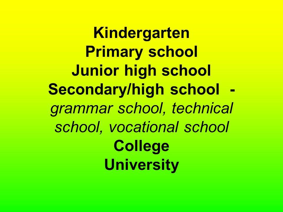 Kindergarten Primary school Junior high school Secondary/high school - grammar school, technical school, vocational school College University
