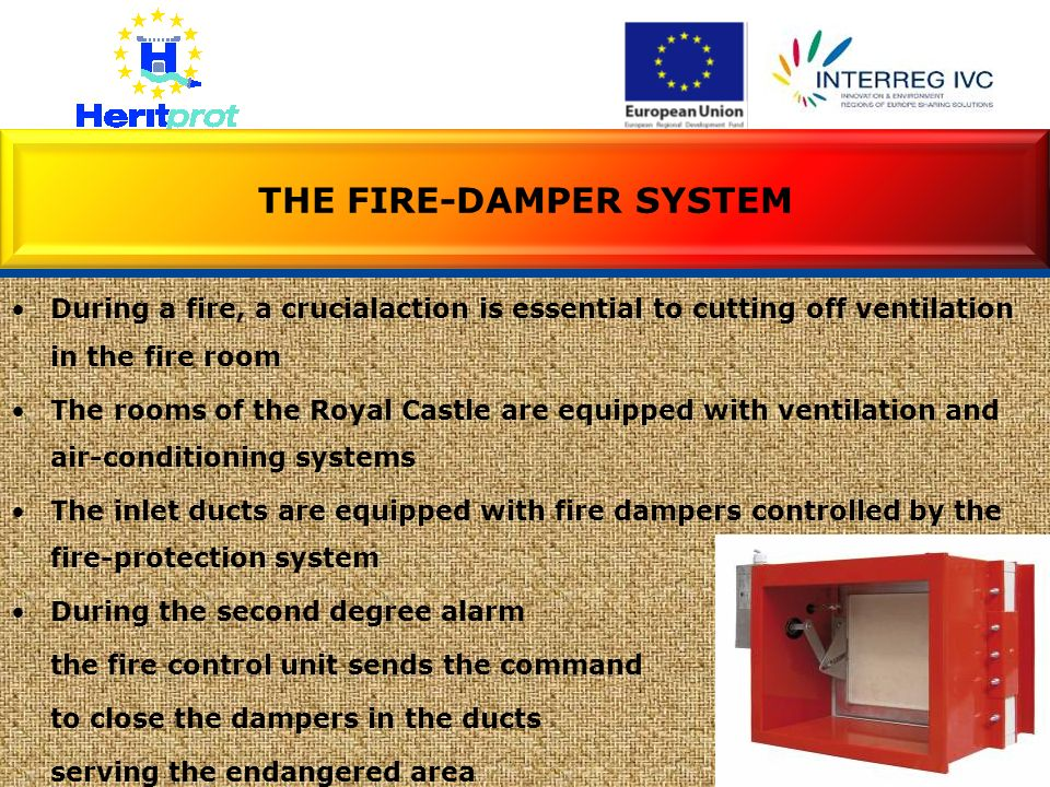 During a fire, a crucialaction is essential to cutting off ventilation in the fire room The rooms of the Royal Castle are equipped with ventilation an