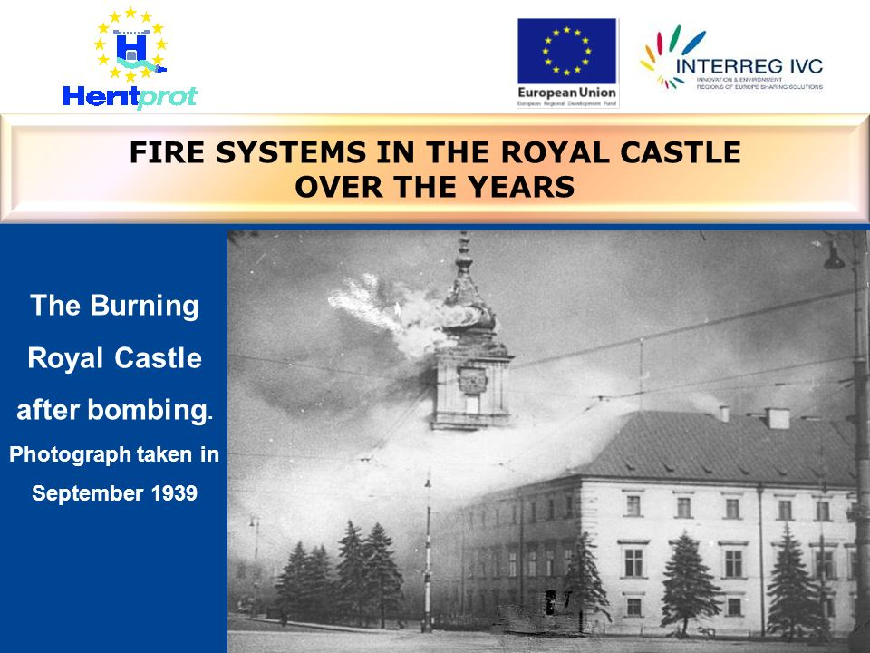 The Burning Royal Castle after bombing. Photograph taken in September 1939