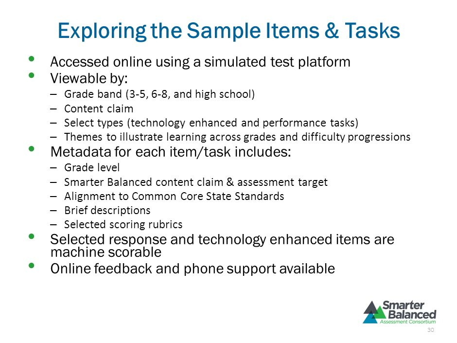 Purpose of the Sample Items & Tasks Display rigor and complexity of ELA/literacy and math items and tasks on Smarter Balanced assessments Signal to ed