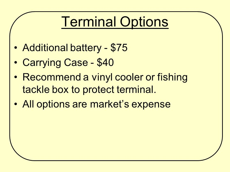 Terminal Options Additional battery - $75 Carrying Case - $40 Recommend a vinyl cooler or fishing tackle box to protect terminal.
