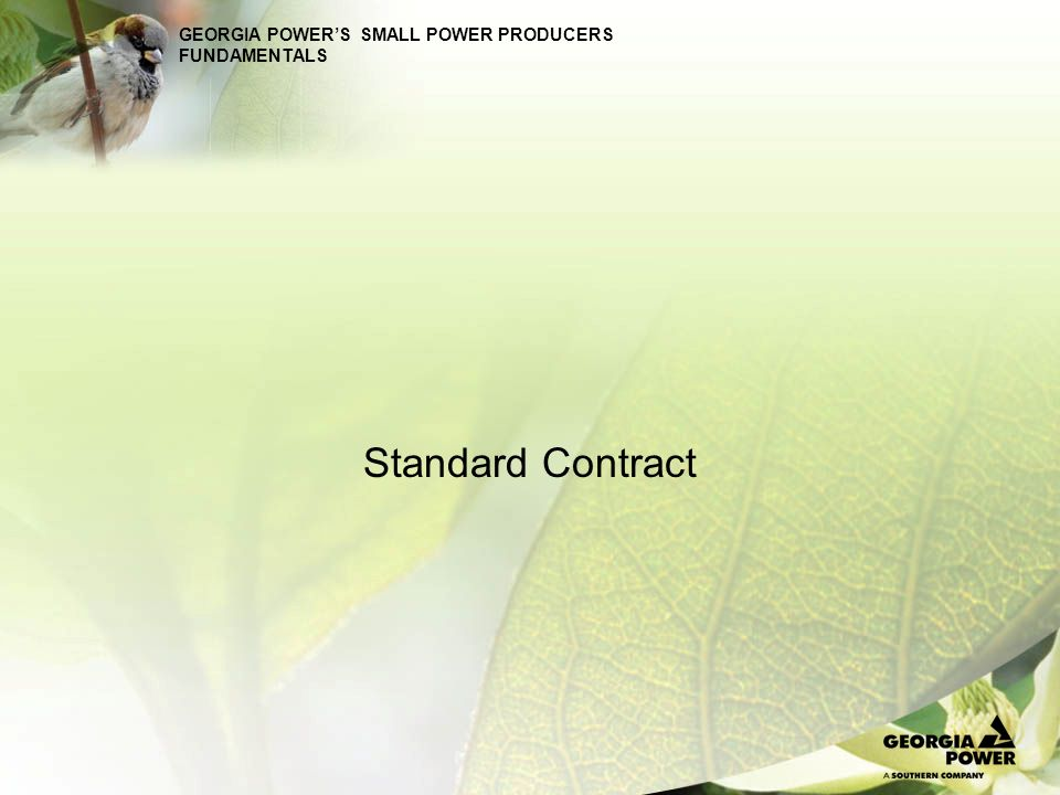 GEORGIA POWERS SMALL POWER PRODUCERS FUNDAMENTALS Standard Contract