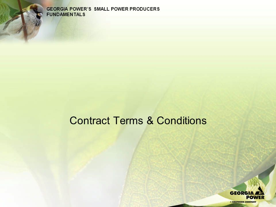 GEORGIA POWERS SMALL POWER PRODUCERS FUNDAMENTALS Standard contract subject to Georgia PSC approval Supplier responsible for acquiring all governmental permits, certificates, or authorizations required for operation of facility Supplier responsible for any costs and expenses associated with facility interconnection Compliance with Laws, Rules, & Regulation