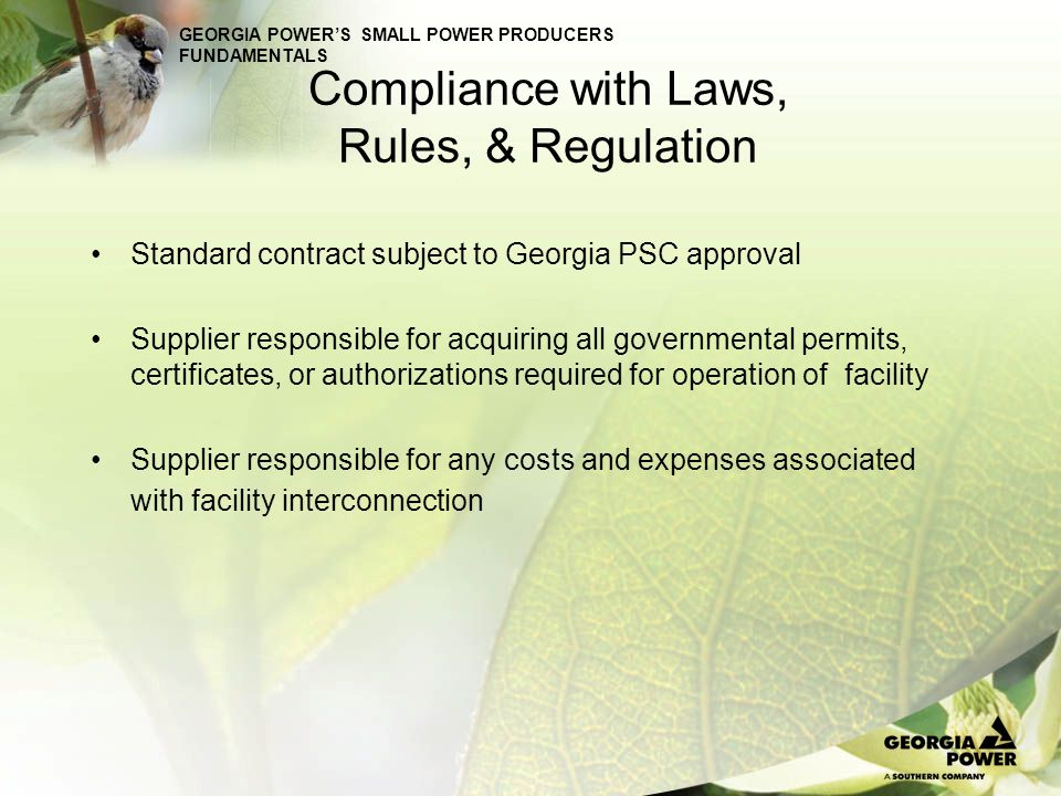 GEORGIA POWERS SMALL POWER PRODUCERS FUNDAMENTALS Standard Firm contract Energy & Capacity Option B: Market Based Capacity Payments –The capacity payment for the first annual period is specified in the contract Capacity payment based on ECC of most expensive incremental capacity resource added in subject year (on basis of peaking resource) Capacity payment for each subsequent annual period determined at time need is filled for subject year.