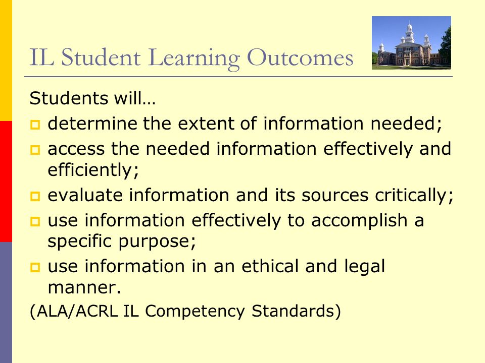IL Student Learning Outcomes Students will… determine the extent of information needed; access the needed information effectively and efficiently; eva