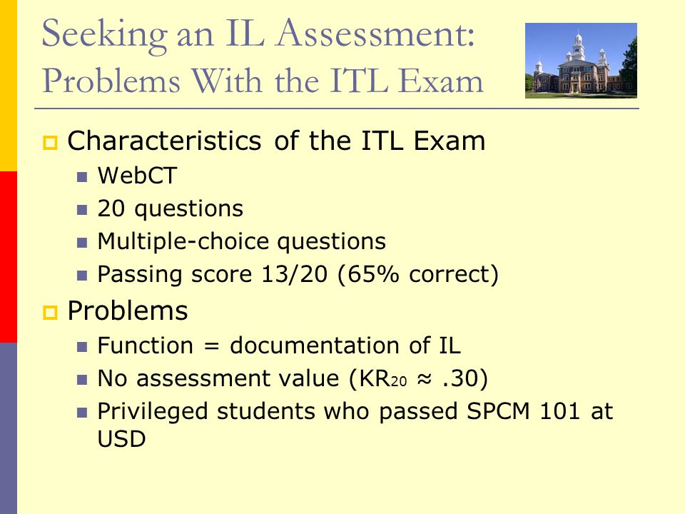 Seeking an IL Assessment: Problems With the ITL Exam Characteristics of the ITL Exam WebCT 20 questions Multiple-choice questions Passing score 13/20