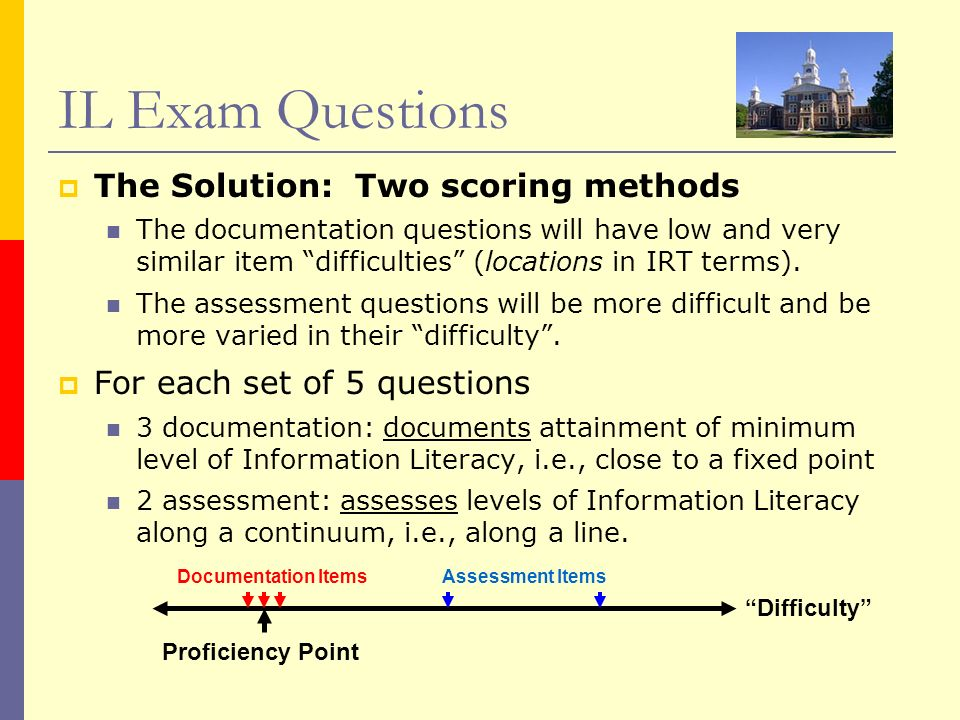 IL Exam Questions The Solution: Two scoring methods The documentation questions will have low and very similar item difficulties (locations in IRT ter