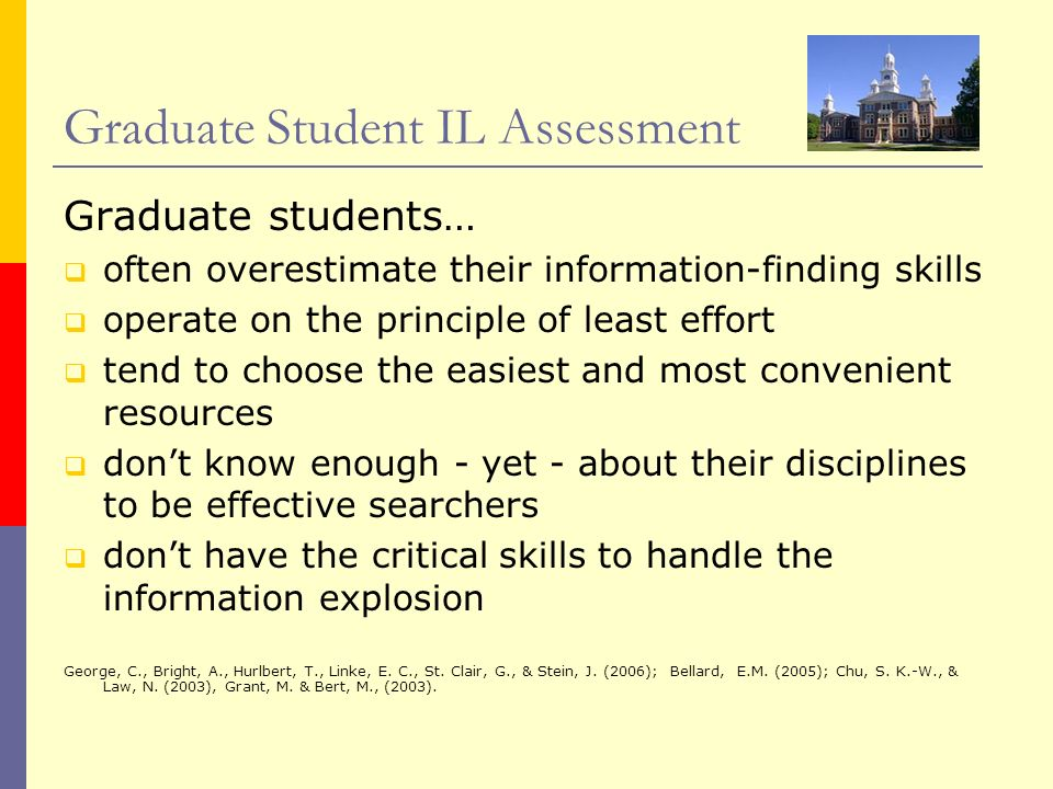 Graduate Student IL Assessment Graduate students… often overestimate their information-finding skills operate on the principle of least effort tend to