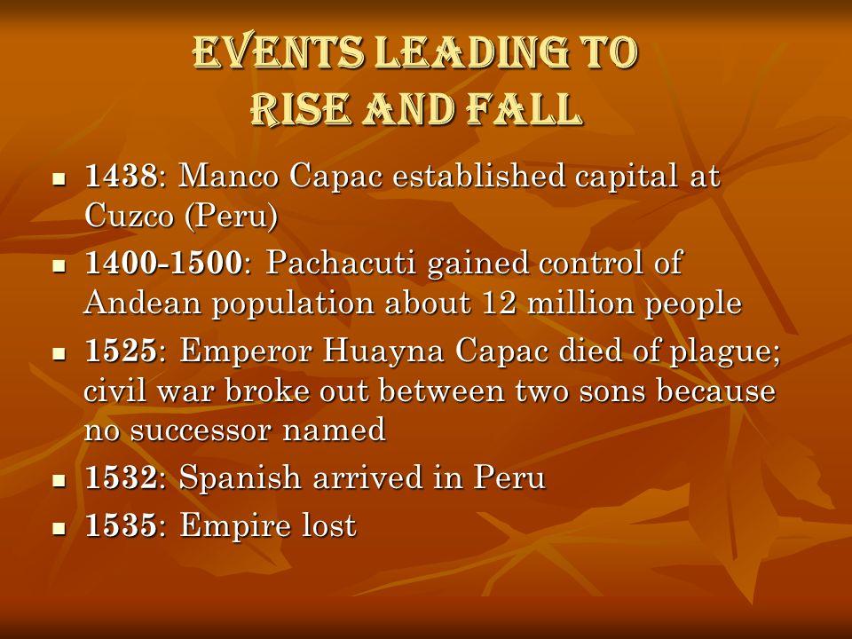 Events leading to Rise and Fall 1438 : Manco Capac established capital at Cuzco (Peru) 1438 : Manco Capac established capital at Cuzco (Peru) 1400-150