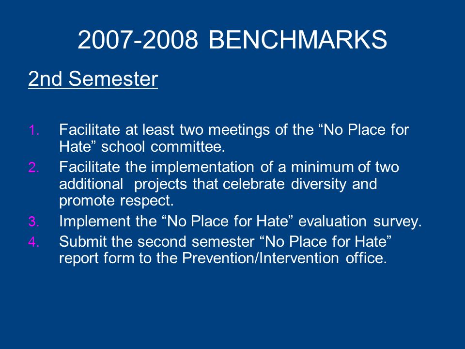 2007-2008 BENCHMARKS 1 st Semester 1. Attend a two hour No Place for Hate training.