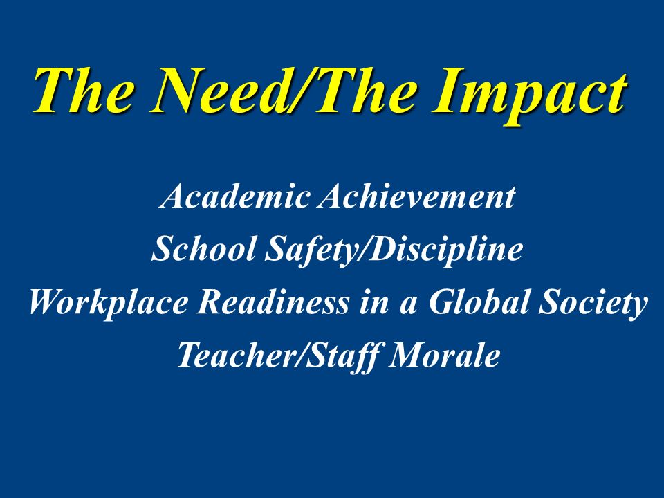 Academic Achievement School Safety/Discipline Workplace Readiness in a Global Society Teacher/Staff Morale The Need/The Impact
