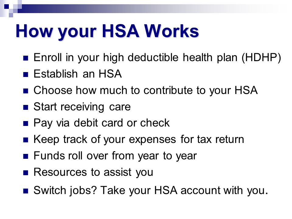How your HSA Works Enroll in your high deductible health plan (HDHP) Establish an HSA Choose how much to contribute to your HSA Start receiving care P