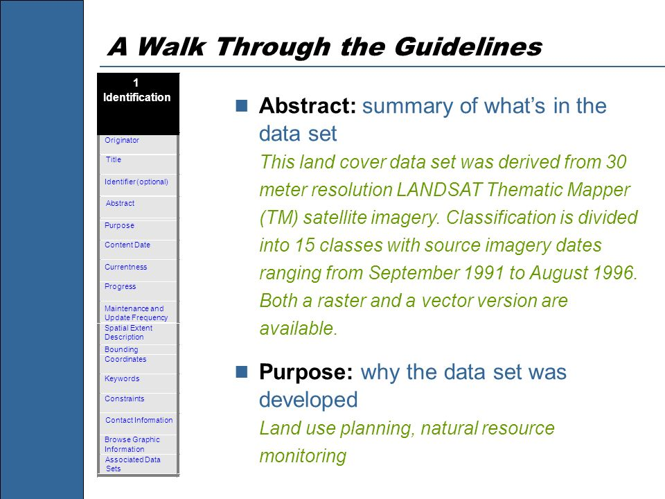 A Walk Through the Guidelines Abstract: summary of whats in the data set This land cover data set was derived from 30 meter resolution LANDSAT Themati