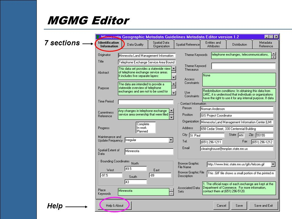 MGMG Editor 7 sections Help