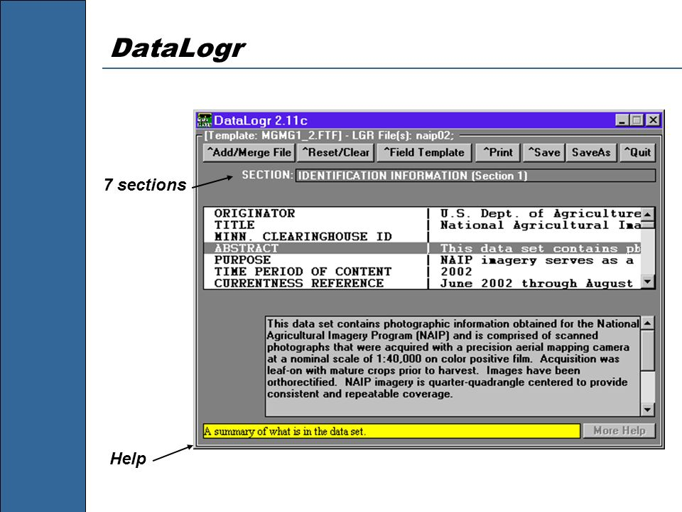 DataLogr 7 sections Help