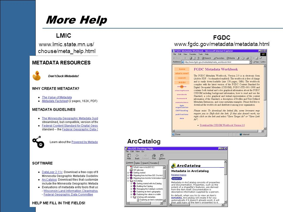 More Help LMIC ArcCatalog www.lmic.state.mn.us/ chouse/meta_help.html FGDC www.fgdc.gov/metadata/metadata.html