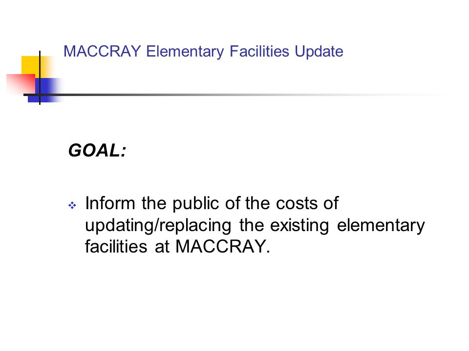 MACCRAY Elementary Facilities Update History of MACCRAY School districts of Clara City, Maynard, and Raymond consolidated in 1989.
