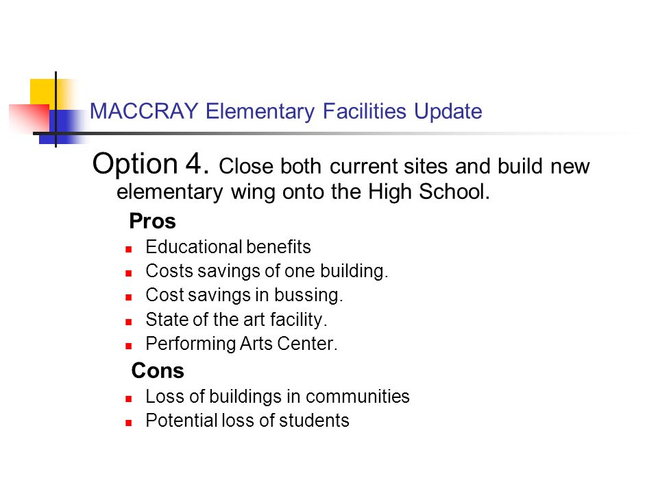MACCRAY Elementary Facilities Update Option 4.