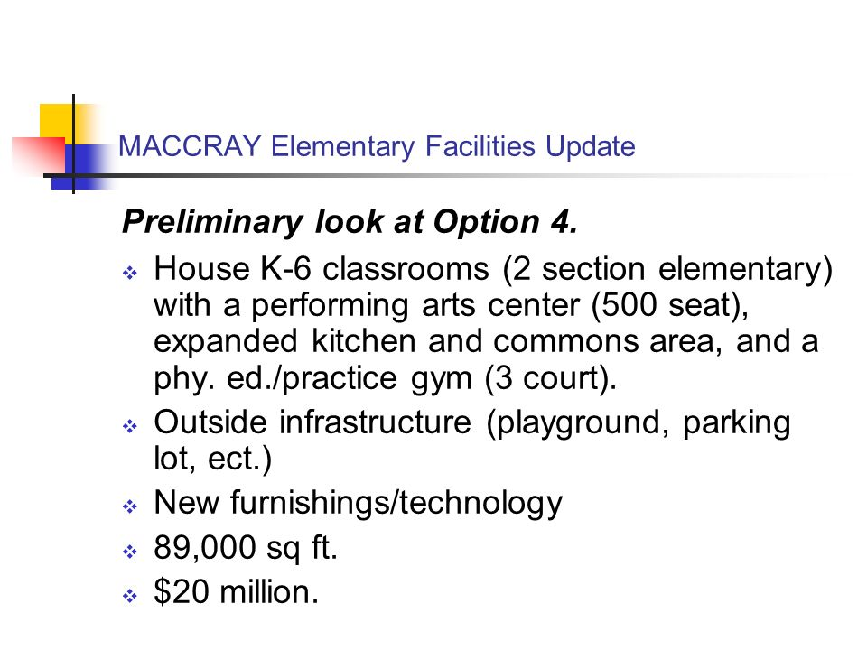 MACCRAY Elementary Facilities Update Preliminary look at Option 4.