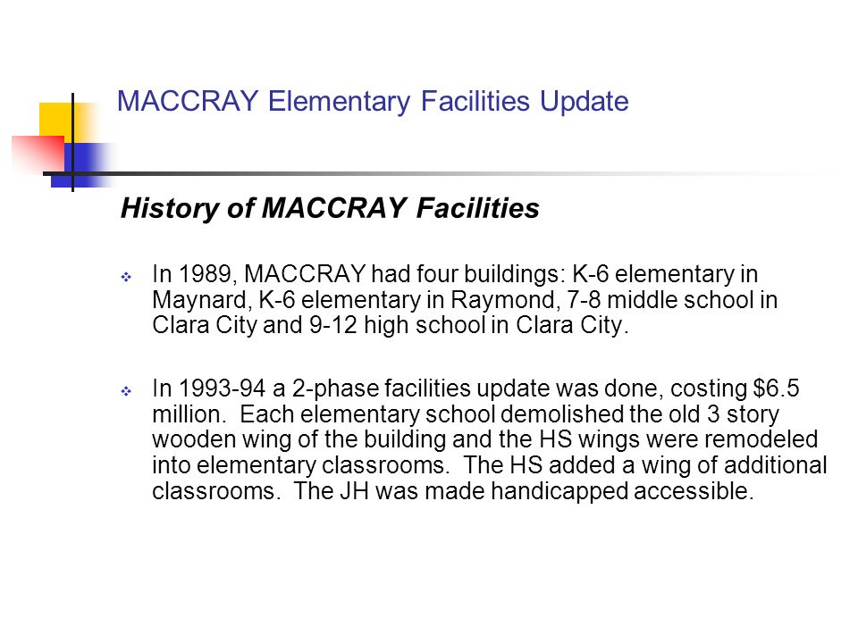 MACCRAY Elementary Facilities Update History of MACCRAY Facilities In 1989, MACCRAY had four buildings: K-6 elementary in Maynard, K-6 elementary in Raymond, 7-8 middle school in Clara City and 9-12 high school in Clara City.