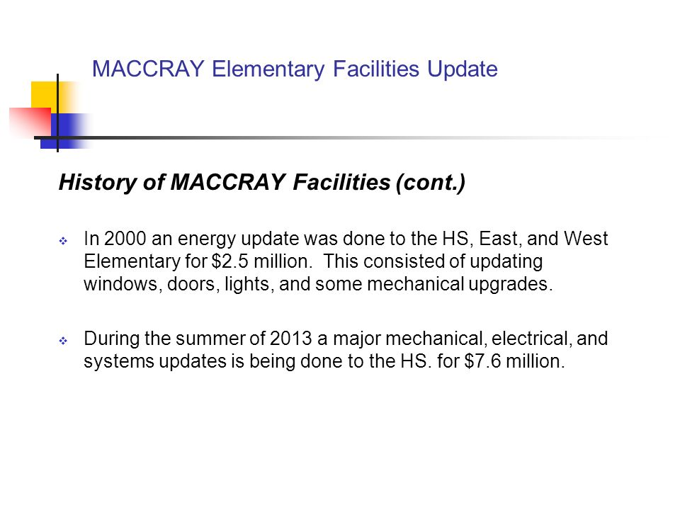 MACCRAY Elementary Facilities Update Questions Common Questions handout