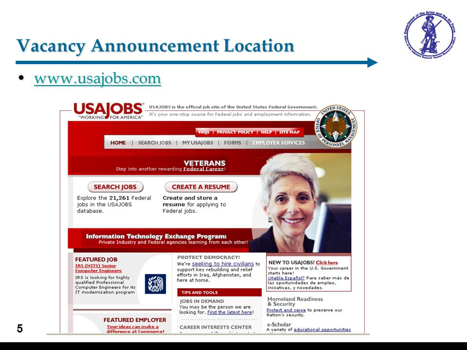 6 Job Search –Search jobs Agency SearchAgency Search –AIR FORCE, DEPARTMENT OF »Air National Guard Units –ARMY, US DEPARTMENT OF THE »National Guard Units Applicant Eligibility:Applicant Eligibility: –Click Yes to see vacancy announcements for ING Members/Technicians and All Sources –Click No to see All Sources Search for jobsSearch for jobs