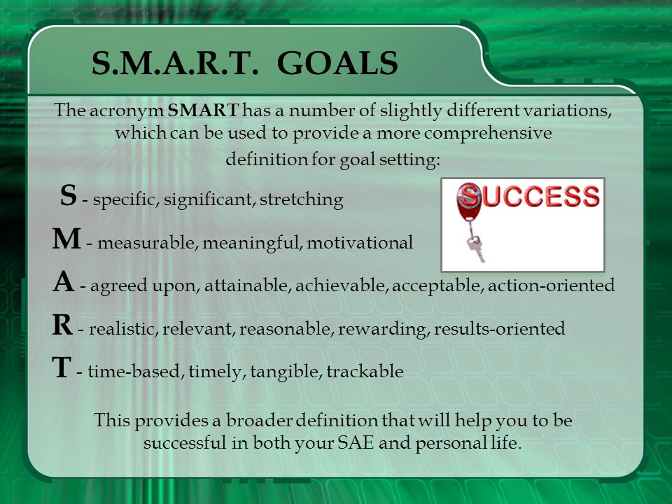 Goal Setting Techniques SMART Goals Once you have planned your SAE project, turn your attention to developing several goals that will enable you to be