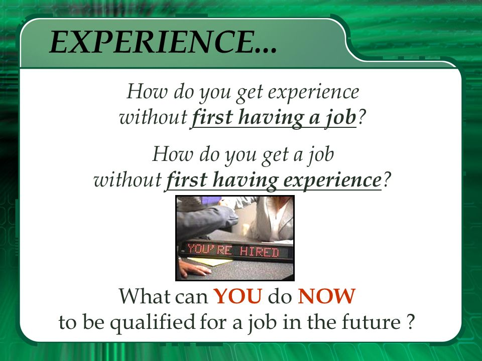 What was the SAME in all three ads? Each advertisement wanted the person to be experienced. People who have experience have the edge in landing a job.