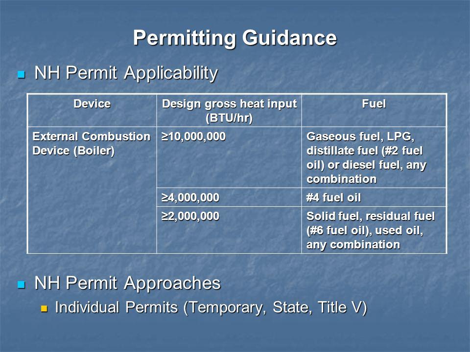 Permitting Guidance NH Permit Applicability NH Permit Applicability NH Permit Approaches NH Permit Approaches Individual Permits (Temporary, State, Ti