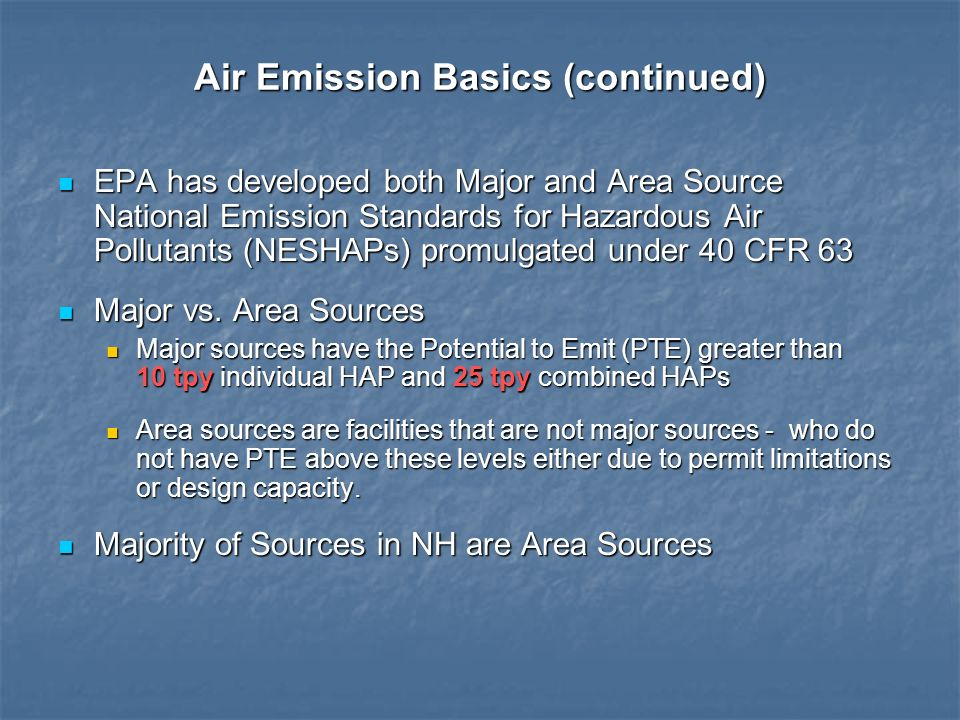 Air Emission Basics (continued) EPA has developed both Major and Area Source National Emission Standards for Hazardous Air Pollutants (NESHAPs) promul